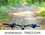 mountain biking down hill... | Shutterstock . vector #598211144