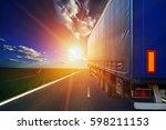truck on a highway | Shutterstock . vector #598211153
