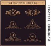 luxury logo monogram. vintage... | Shutterstock . vector #598214684