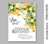 yellow rose floral wedding... | Shutterstock .eps vector #598219058