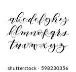 hand written brush pen alphabet.... | Shutterstock .eps vector #598230356
