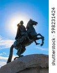 bronze horseman monument with a ... | Shutterstock . vector #598231424