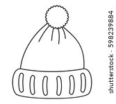 woolen hat icon. outline... | Shutterstock .eps vector #598239884