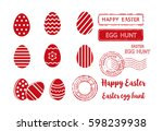 set of easter eggs and postal... | Shutterstock .eps vector #598239938