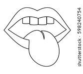 rock emblem icon. outline... | Shutterstock .eps vector #598240754