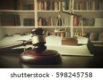 judge gavel and scale in court. ... | Shutterstock . vector #598245758