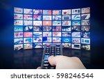 multimedia video wall... | Shutterstock . vector #598246544