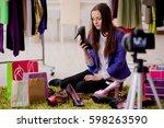 fashion blogger recording video ... | Shutterstock . vector #598263590