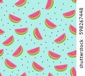 seamless watermelon pattern.... | Shutterstock .eps vector #598267448