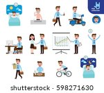 daily routine of happy... | Shutterstock .eps vector #598271630