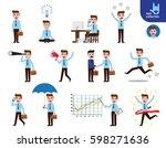 set of full body businessman... | Shutterstock .eps vector #598271636