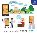 taxi call online on smart phone.... | Shutterstock .eps vector #598271690