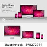 set of realistic computer... | Shutterstock .eps vector #598272794