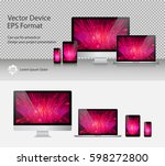 set of realistic computer... | Shutterstock .eps vector #598272800