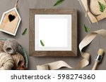 poster frame mockup square size ...   Shutterstock . vector #598274360