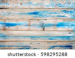 old wooden background with blue ... | Shutterstock . vector #598295288