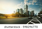 the road in city with sunset | Shutterstock . vector #598296770
