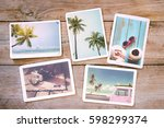 summer photo album on wood... | Shutterstock . vector #598299374