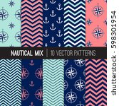 girly nautical patterns in navy ... | Shutterstock .eps vector #598301954