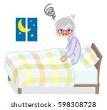 senior woman suffers insomnia | Shutterstock .eps vector #598308728