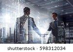 nice to meet you partner .... | Shutterstock . vector #598312034