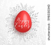 happy easter red egg on gray... | Shutterstock .eps vector #598330340