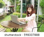 portrait of beautiful female... | Shutterstock . vector #598337888