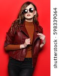 fashion model in sunglasses ... | Shutterstock . vector #598339064