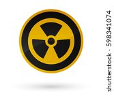 Nuclear Sign Button On White...