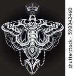 bohemian elegant hand draw work ... | Shutterstock .eps vector #598342460