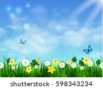green grass lawn with sunrise... | Shutterstock .eps vector #598343234