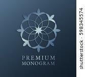 luxury floral monogram logo... | Shutterstock .eps vector #598345574