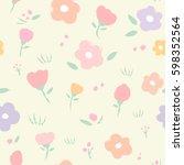 vector seamless floral pattern. ... | Shutterstock .eps vector #598352564