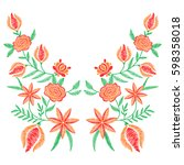 embroidery stitches with spring ... | Shutterstock .eps vector #598358018