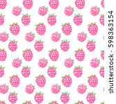 seamless raspberry pattern... | Shutterstock .eps vector #598363154
