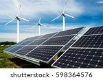 photo collage of solar panels... | Shutterstock . vector #598364576