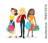 cartoon woman group with... | Shutterstock .eps vector #598373576