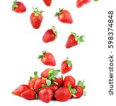 strawberries falling. concept... | Shutterstock . vector #598374848
