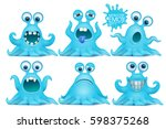 funny octopus emoji monster... | Shutterstock .eps vector #598375268