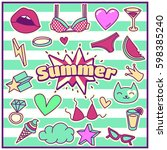 chic fashion summer patch... | Shutterstock .eps vector #598385240