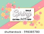 spring sale colorful banner... | Shutterstock .eps vector #598385780