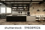 Stock photo cafe shop restaurant design modern loft counter steel black top counter concrete side brick wall 598389026