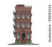 new york old manhattan house...   Shutterstock .eps vector #598392614