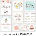 vector happy easter templates... | Shutterstock .eps vector #598403510