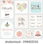 vector happy easter templates... | Shutterstock .eps vector #598403510
