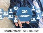 the businessman clicks the... | Shutterstock . vector #598403759