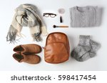 set of female stylish clothes... | Shutterstock . vector #598417454