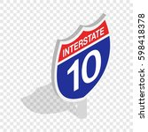 interstate highway sign... | Shutterstock . vector #598418378