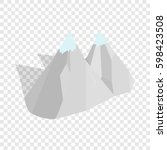 mountains isometric icon 3d on... | Shutterstock . vector #598423508