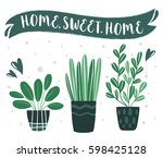 home.sweet.home. set of cute... | Shutterstock .eps vector #598425128